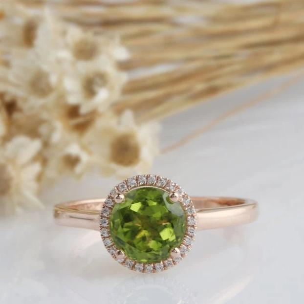 7mm Round Natural Peridot Center Ring Engagement Ring Halo Style Rose Gold Ring