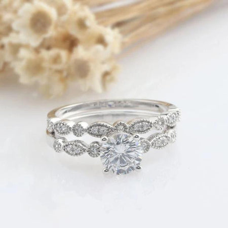 1.0CT Round Simulated Diamond Ring Sets Bridal Sets in Gold