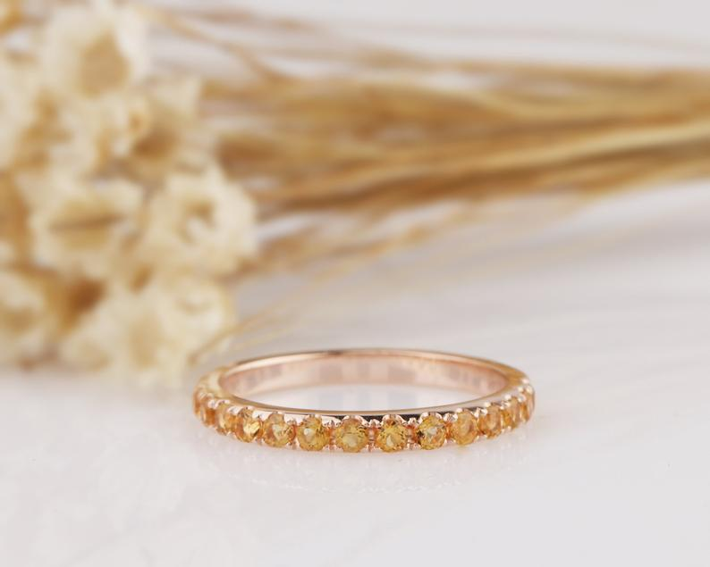 Natural Citrine Wedding Band 14K Solid Gold Matching Band