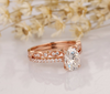 14k Solid Rose Gold Bridal Ring Set 1.5CT Oval Cut Moissanite Ring