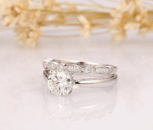 14K Solid Gold Moissanite Bridal Set 1CT Round Cut Moissanite Ring