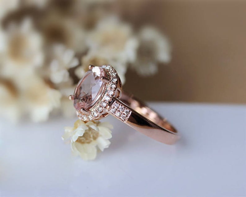 1.54CT Oval Cut Natural Morganite Wedding Band Rose Gold Ring