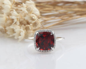8x8mm Natural Garnet Engagement Ring Anniversary Ring White Gold Ring