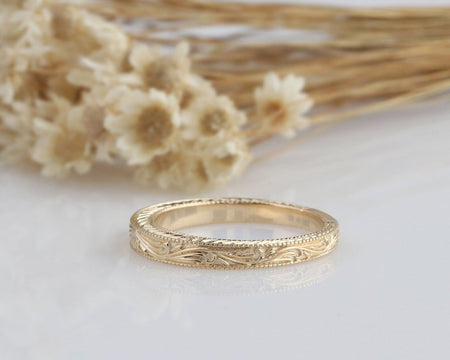 14K Solid Gold Rings Unique Matching Band Anniversary Ring Gifts For Her/Him