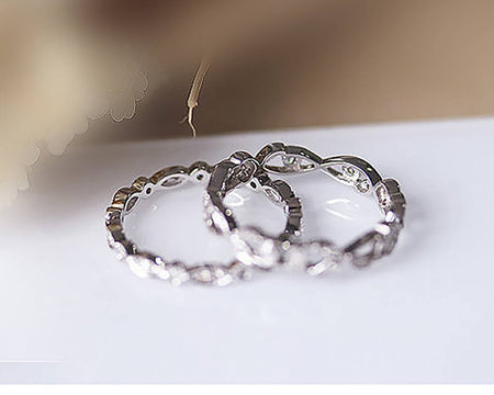 14K Solid White Gold Rings Anniversary Ring 2PCS Matching Ring