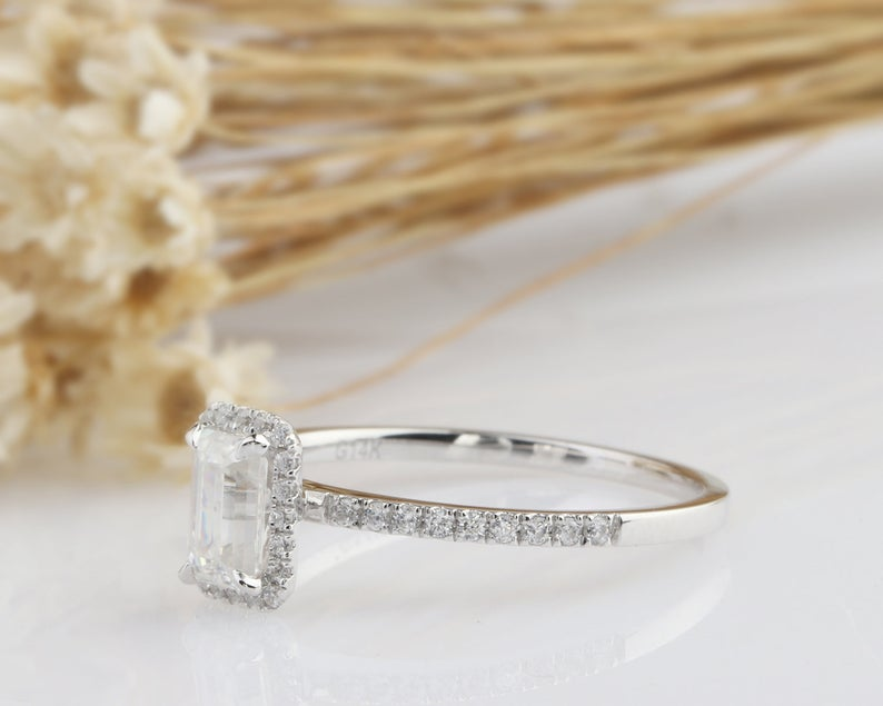 0.85CT Emerald Cut Moissanite Engagement Ring White Gold Ring
