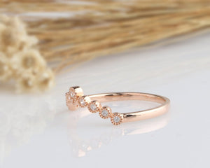 14K Solid Gold Rings Matching Band Promise Ring Rose gold Ring