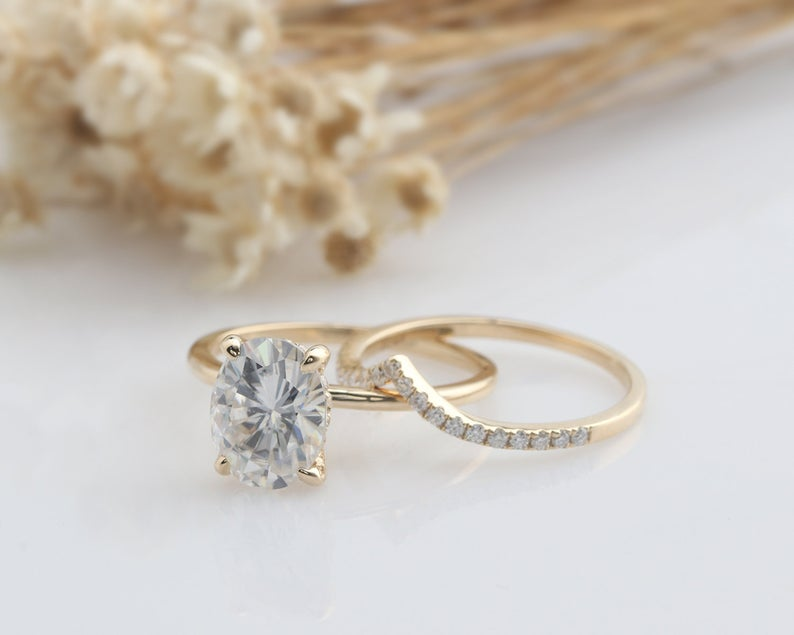 2.0CT Oval Moissanite Engagement Ring Anniversary Ring Yellow Gold Ring