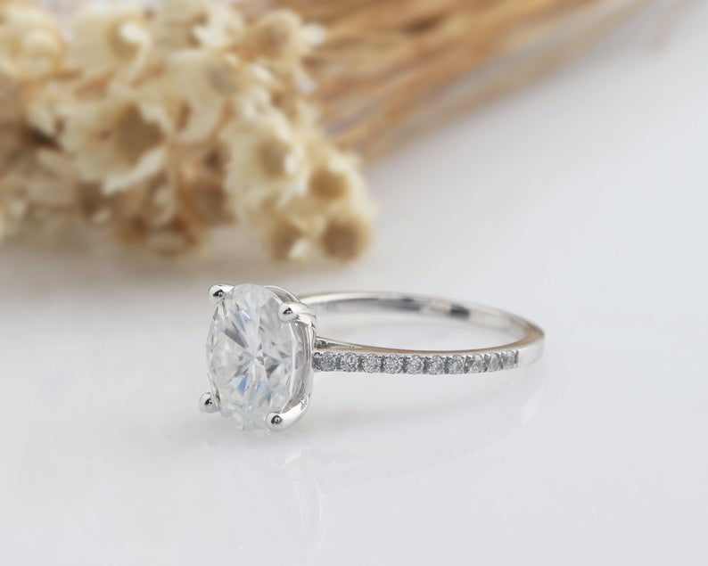 7x9mm Oval Cut Moissanite Engagement Ring Gift For Her