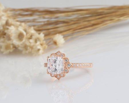 2CT Cushion Moissanite Engagement Ring Rose Gold Ring