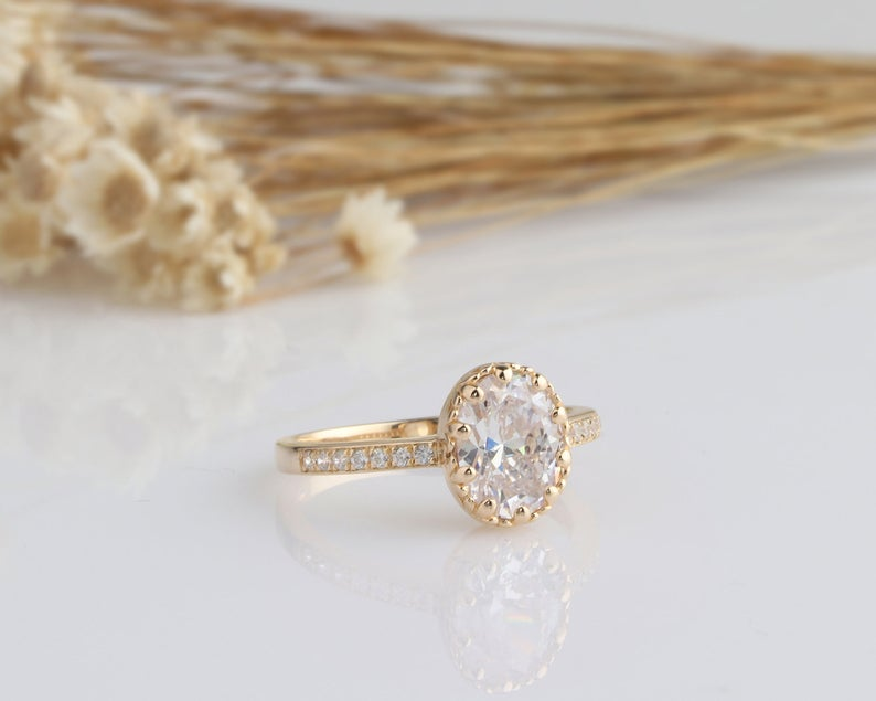 2CT Oval Moissanite Engagement Ring Yellow Gold Ring