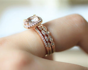 1.6CT Oval Natural Morganite Wedding Band  Engagement Ring Rose gold Ring