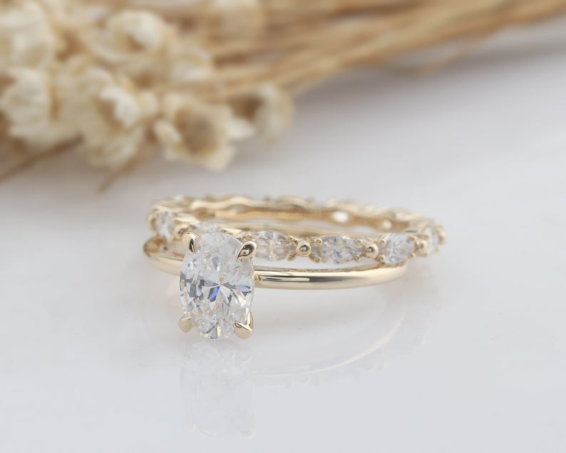 1CT Oval Moissanite Ring Set Full Eternity Band