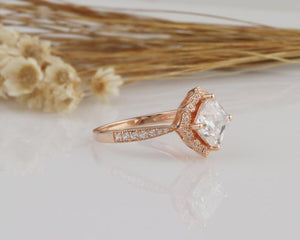 1.7CT Cushion Moissanite Engagement Ring Rose Gold Ring