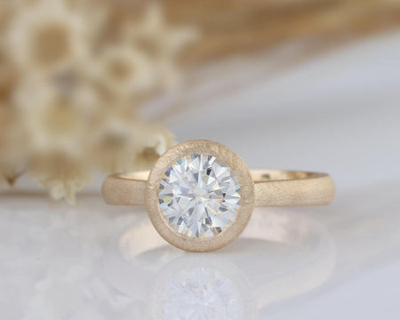 1.5CT Round Moissanite Ring Unpolished Yellow Gold Ring
