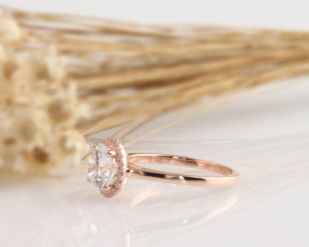 1CT Round Moissanite Ring Anniversary Ring Rose Gold Ring