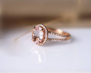 1.6CT Oval Cut Natural Morganite Wedding Band Rose gold ring