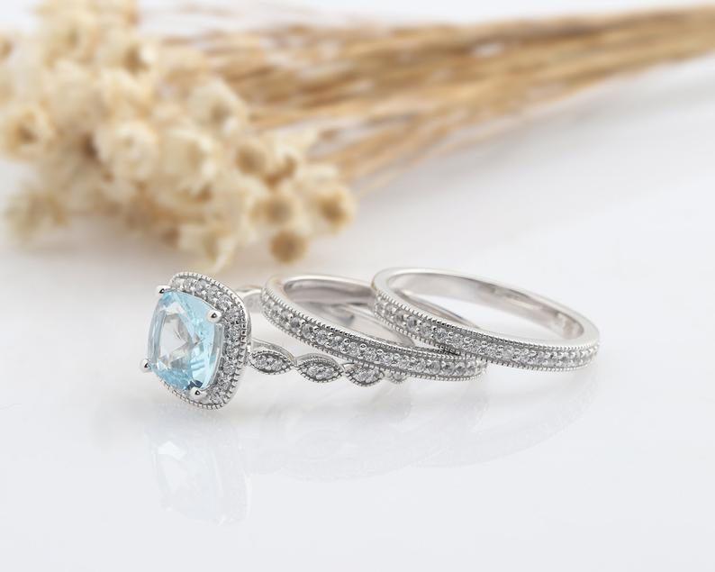 2.5CT Cushion Natural Aquamarine Center Ring Promise Ring 3pcs Bridal Set