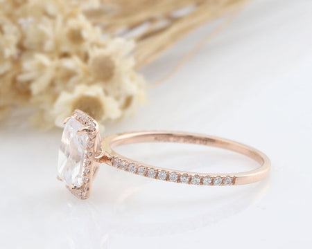 1.9CT Rectangle Cut Anniversary Ring Rose Gold Rings