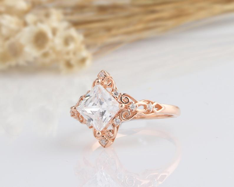 2CT Princess Cut Moissanite Engagement Ring Rose Gold Ring
