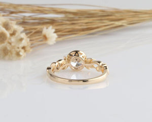 1CT Round Moissanite Engagement Ring Yellow gold Ring For Women