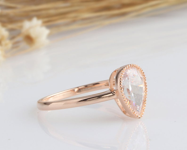 1.75CT Pear Cut Moissanite Engagement Ring Rose Gold Ring