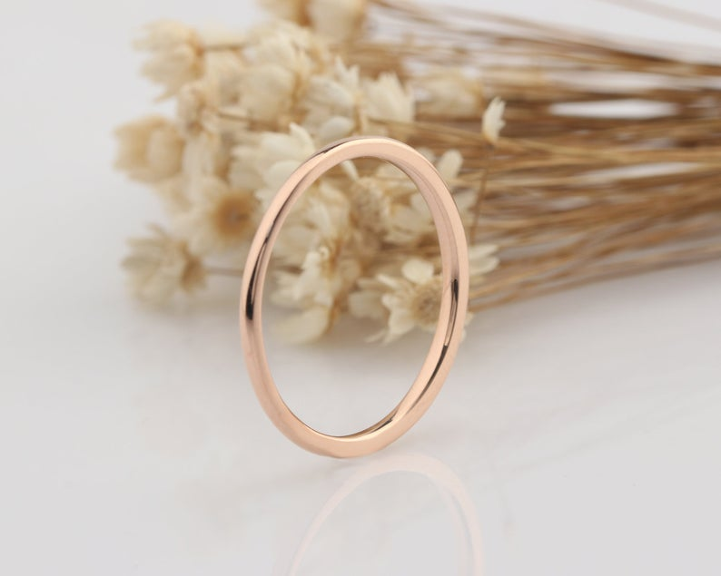 14K Solid Gold Rings tackable Ring Gifts For Him Simple Stacking Ring