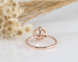 1CT Round Moissanite Engagement Ring Rose gold Ring For Women