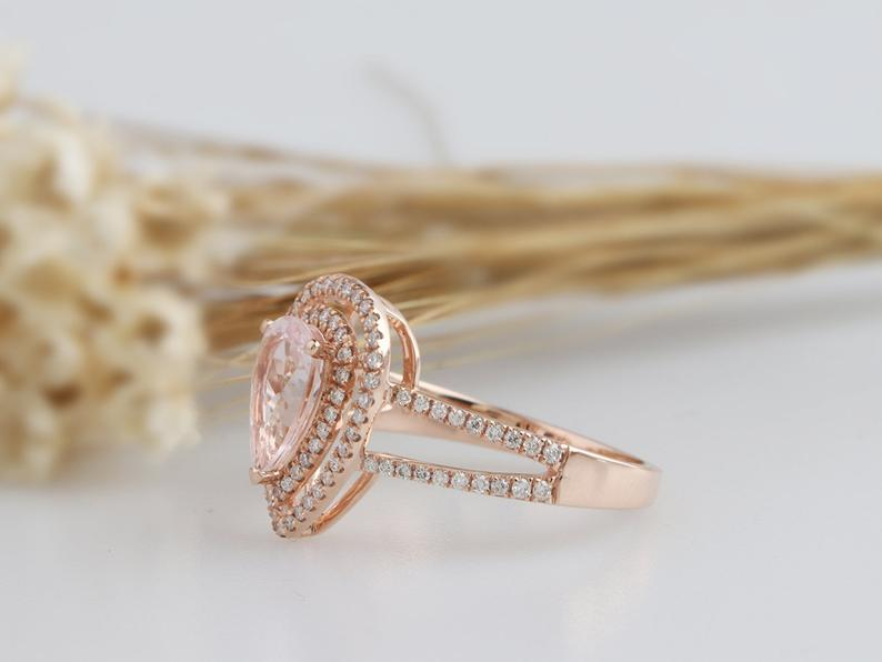 1.5CT Pear Cut Morgnite Center Engagement Ring Rose Gold Ring