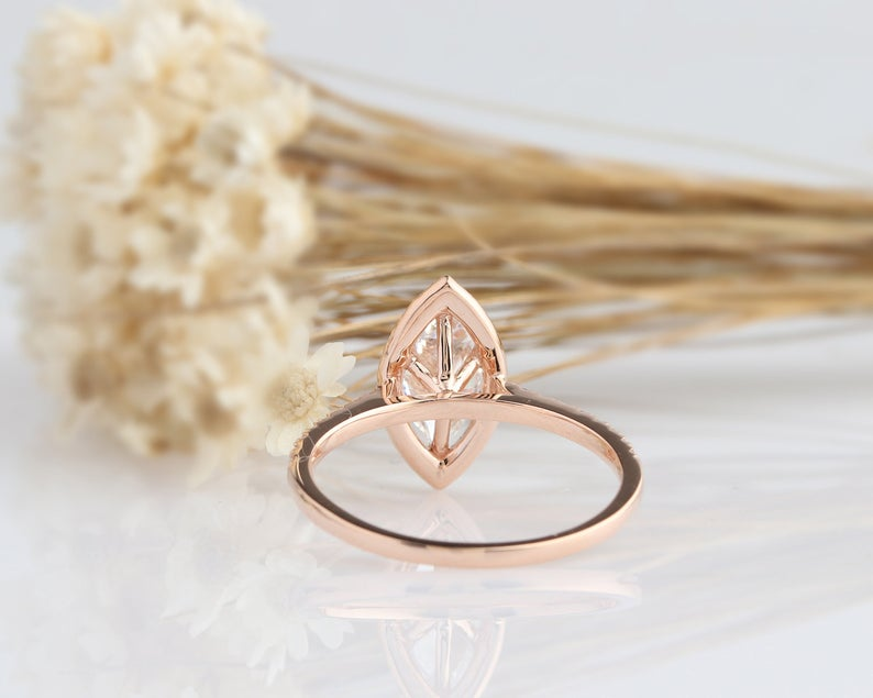 1CT Marquise Cut Moissanite Engagement Ring Rose Gold Ring