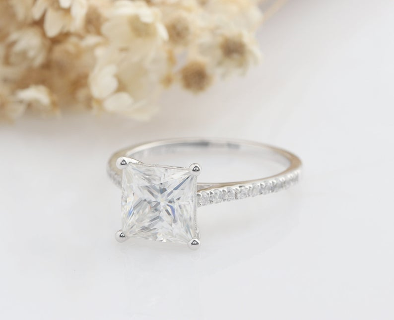 7x7mm Princess Cut Art Deco Promise rings Engagement Ring