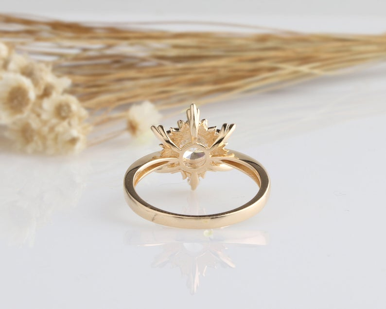 1CT Round Moissanite Yellow gold Ring For Women Engagement Ring