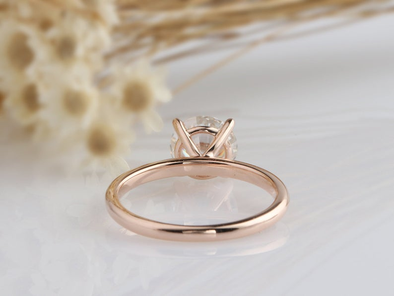 2CT Round Moissanite Ring Rose Gold Ring