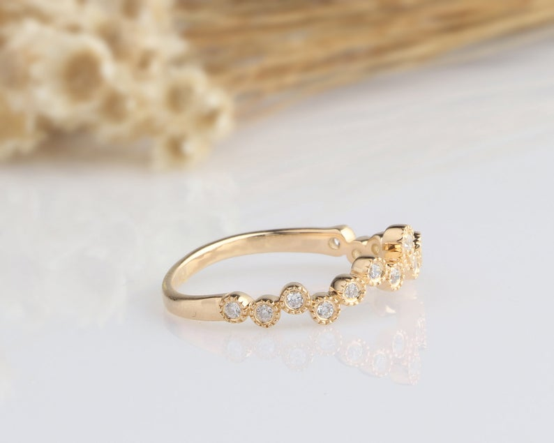 14K Solid Gold Rings Matching Band Yellow Gold Ring