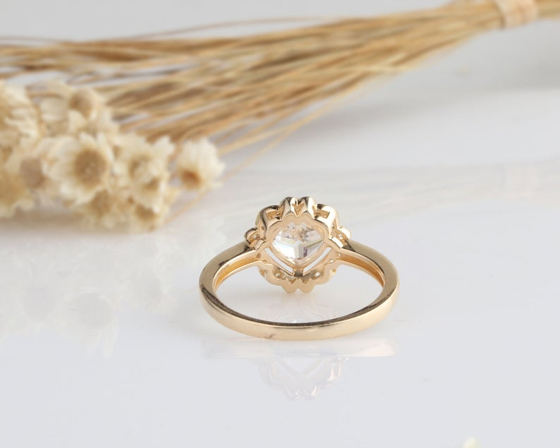 1.1CT Cushion Moissanite Engagement Ring Yellow Gold Ring