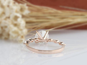 1.5CT Round Moissanite Engagement Ring Rose gold Ring For Women