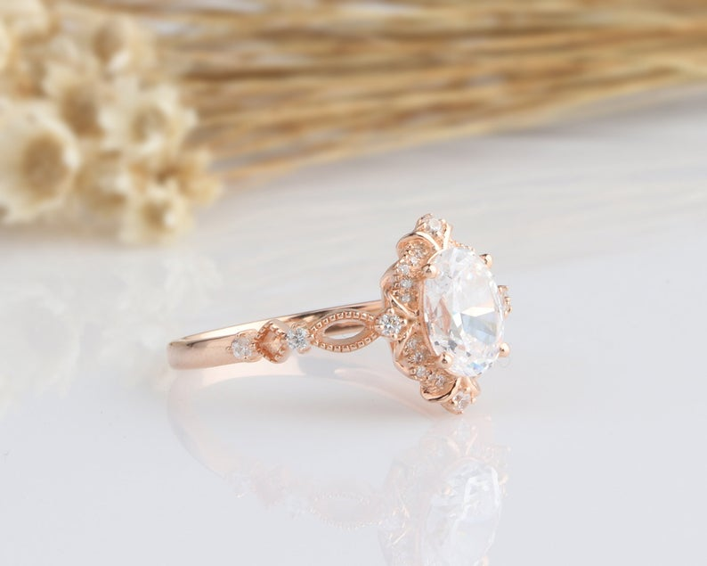 1.5CT Oval Moissanite Engagement Ring Rose Gold Ring
