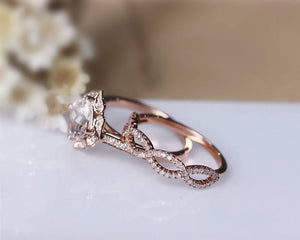 1.50CT Cushion Natural Morganite Engagement Ring Halo Art Deco Ring 2PCS Ring Sets