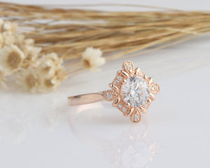 1.25CT Round Moissanite Ring Rose gold Ring For Women Engagement Ring