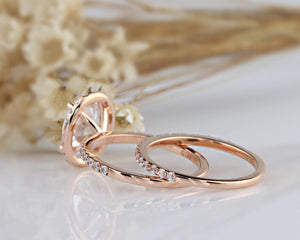2.1CT Oval Moissanite Bridal Sets Rose Gold Ring Gift