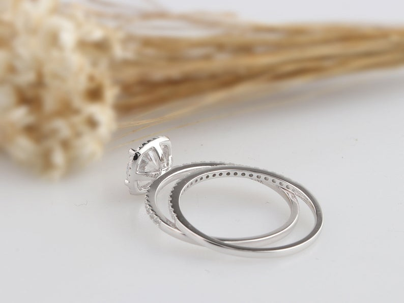 1CT Round Moissanite Wedding Set White gold Ring For Women
