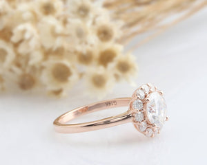 1.0CT Round Moissanite Ring Set Rose gold ring For Women