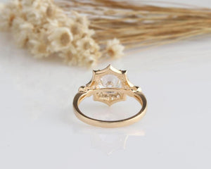 2CT Round Moissanite Engagement Ring Yellow gold Ring For Women