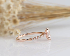 0.94CT Rose gold Ring Moissanite Engagement Ring