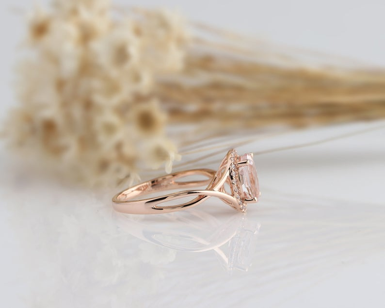 1.5CT Oval Cut Natural Morganite Wedding Band Promise ring Rose gold ring