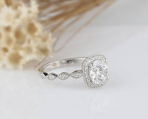 2CT Round Cut Moissanite Engagement Ring White Gold Ring