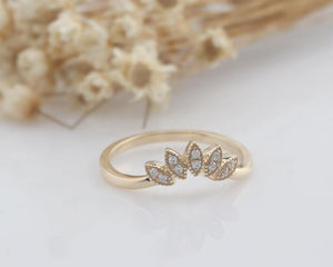 14K Solid Gold Band Yellow gold Rings Mom Rings