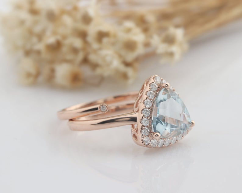 9x9mm Trillion Cut Natural Aquamarine Wedding Ring Gifts For Her