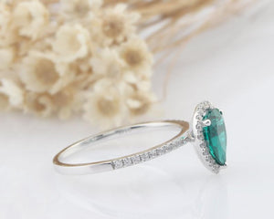1.2CT Pear Cut Lab Created Emerald Wedding Ring Vintage Anniversary Ring
