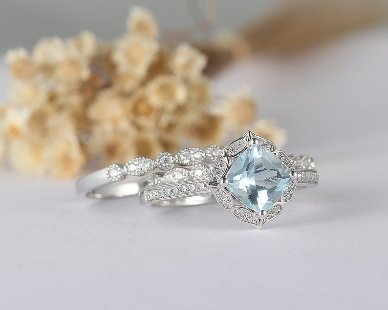 1.5CT Cushion Natural Aquamarine Center Ring Promise Ring Halo Split Shank Ring